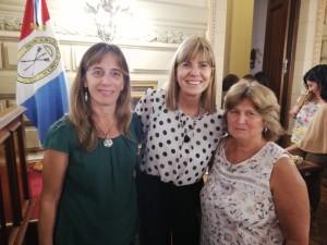 Gabriela Corsano y María Rosa Galli, junto a la vicegobernadora Alejandra Rodenas